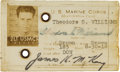 Autographs:Others, Circa 1952 Ted Williams U.S. Marine Corps Signed IdentificationBadge with Fingerprint....