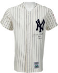 Baseball Collectibles:Uniforms, 1990's Mickey Mantle Signed New York Yankees Mitchell & NessJersey With Inscriptions. ...