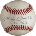 "Autographs:Baseballs, 1980's Mickey Mantle ""536 HR's"" Single Signed Baseball. ..."