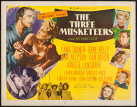 "The Three Musketeers (MGM, 1948). Half Sheet (22"" X 28"") Style B. Swashbuckler"
