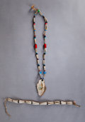 American Indian Art:Beadwork and Quillwork, TWO NORTHWEST COAST SHELL AND GLASS BEAD NECKLACES. c. 1890...(Total: 2 )