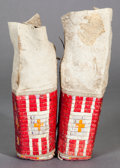 American Indian Art:Beadwork and Quillwork, A PAIR OF SIOUX GIRL'S QUILLED HIDE LEGGINGS... (Total: 2 )