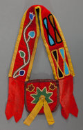 American Indian Art:Beadwork and Quillwork, A PLATEAU CHILD'S BEADED CLOTH BANDOLIER BAG. c. 1885...