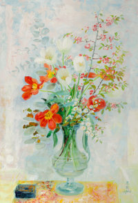 LE PHO (French, 1907-2001) Fleurs Oil on canvas 51 x 35-1/2 inches (129.5 x 90.2 cm) Signed in