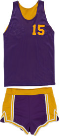 Basketball Collectibles:Uniforms, 1978-79 Ernie DiGregorio Practice Worn Los Angeles Lakers Jerseyand Shorts....