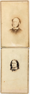 """Photography:CDVs, [Carte de Visite]. Two Cartes de Visite of Unknown Individuals. Backs are signed """"F.G. Irwin"""" and Mary Irwin,"""" respectively...."""