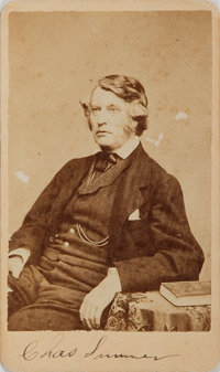 "[Carte de Visite]. Charles Sumner SIGNED Carte de Visite. No backmark. Measures approximately 2.5"" x 4.25"". So..."