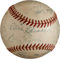 Baseball Collectibles:Balls, 1951 Cleveland Indians Team Signed Baseball With Two Tris Speaker Signatures. ...