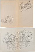 Animation Art:Production Drawing, Winnie the Pooh Baseball-Themed Preliminary IllustrationAnimation Art Group (Walt Disney, 1990s).... (Total: 2 OriginalArt)