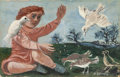 Fine Art - Painting, American:Modern  (1900 1949)  , PHILIP GUSTON (American, 1913-1980). Boy with Birds. Oil onboard. 3-1/2 x 5-1/2 inches (8.9 x 14.0 cm). Signed lower ri...