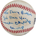 Baseball Collectibles:Balls, 1971 Nestor Chylak Signed Game Used Baseball from First World Series Night Game....