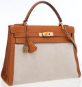 Luxury Accessories:Bags, Hermes 32cm Gold Epsom Leather & Toile Retourne Kelly Bag withGold Hardware . ...