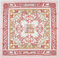 """Luxury Accessories:Accessories, Hermes Pink & Red """"Early America,"""" by François De La Perriere Silk Scarf. ..."""