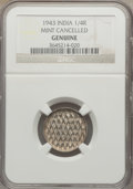 India:British India, India: British India. George VI Mint-Cancelled 1/4 Rupee 1943 Genuine NGC,...