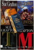 Books:Mystery & Detective Fiction, Sue Grafton. Group of Three First Editions. Also includes a SueGrafton checklist and a dust jacket from the first UK editio...(Total: 5 Items)