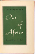 Books:Literature 1900-up, Isak Dinesen. Out of Africa. New York: Random House, 1938.First edition. Publisher's binding. Spine lightly sunned....