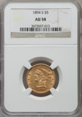 Liberty Half Eagles: , 1894-S $5 AU58 NGC. NGC Census: (51/25). PCGS Population (10/12). Mintage: 55,900. Numismedia Wsl. Price for problem free N...