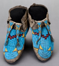 American Indian Art:Beadwork and Quillwork, A PAIR OF SIOUX BEADED HIDE MOCCASINS. c. 1880...
