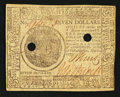 Colonial Notes:Continental Congress Issues, Continental Currency May 20, 1777 $7 Extremely Fine, 2 POC.. ...