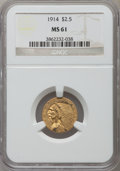 Indian Quarter Eagles: , 1914 $2 1/2 MS61 NGC. NGC Census: (1982/3670). PCGS Population: (481/2380). CDN: $500 Whsle. Bid for NGC/PCGS MS61. Mintage...