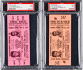 Boxing Collectibles:Memorabilia, 1965 Ali-Liston II Full Ticket, PSA Mint 9 Lot of 2. ...