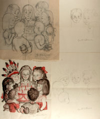 Garth Williams (1912-1996), illustrator. SIGNED. Three Pencil Sketches and One Watercolor for Margaret Wise Brown's &...