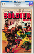 Golden Age (1938-1955):War, Soldier Comics #1 Crowley Copy pedigree (Fawcett Publications,1952) CGC VF+ 8.5 Cream to off-white pages....