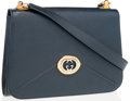Luxury Accessories:Bags, Gucci Navy Blue Leather Shoulder Bag with Two Tone Hardware. ...