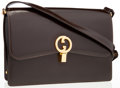Luxury Accessories:Bags, Gucci Brown Leather Shoulder Bag with Gold Hardware. ...