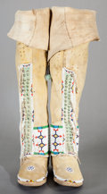 American Indian Art:Beadwork and Quillwork, A PAIR OF CHEYENNE WOMAN'S BEADED HIDE BOOT MOCCASINS. c. 1910...