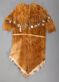 American Indian Art, AN ATHABASKAN GIRL'S QUILLED HIDE DRESS...