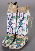 American Indian Art:Beadwork and Quillwork, A PAIR OF SIOUX GIRL'S BEADED HIDE LEGGINGS / MOCCASINS. c. 1890...(Total: 2 Items)