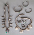 American Indian Art:Jewelry and Silverwork, EIGHT SOUTHWEST SILVER JEWELRY ITEMS. c.1930 - 1950... (Total: 8 )