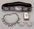American Indian Art:Jewelry and Silverwork, FIVE NAVAJO GIRL'S SILVER JEWELRY ITEMS. c. 1940. ... (Total: 5 )