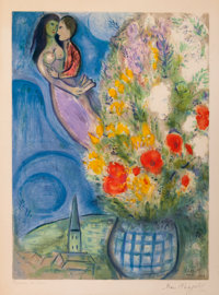 MARC CHAGALL (French/Russian, 1887-1985) Les Coquelicots, 1949 Lithograph in colors 21-3/4 x 16-1