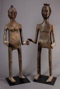 Tribal Art, Toraja (Sulawesi Island, Indonesia, Southeast Asia). Tau taumale and female memorial sculptures (pair). Wood, pigment a...(Total: 2 Items)
