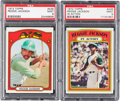 Baseball Cards:Singles (1970-Now), 1972 Topps Reggie Jackson #435 and #436 PSA MINT 9 Pair (2). ...