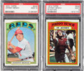 Baseball Cards:Singles (1970-Now), 1972 Topps Johnny Bench #433 & In Action #434 PSA Mint 9 Pair(2)....