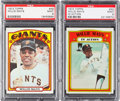 Baseball Cards:Singles (1970-Now), 1972 Topps Willie Mays #49 and Mays IA #50 PSA MINT 9 Pair (2). ...