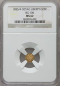 California Fractional Gold: , 1855/4 25C Liberty Octagonal 25 Cents, BG-106, R.3, MS62 NGC. NGCCensus: (5/39). PCGS Population (37/97). ...