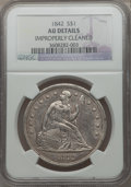 Seated Dollars: , 1842 $1 -- Improperly Cleaned -- NGC Details. AU. NGC Census:(51/293). PCGS Population (85/226). Mintage: 184,618. Numisme...