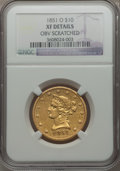 Liberty Eagles, 1851-O $10 -- Obverse Scratched -- NGC Details. XF. NGC Census:(48/727). PCGS Population (102/310). Mintage: 263,000. Numi...