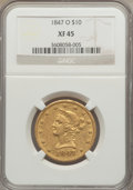 Liberty Eagles: , 1847-O $10 XF45 NGC. NGC Census: (166/457). PCGS Population(118/168). Mintage: 571,500. Numismedia Wsl. Price for problem ...