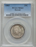 Coins of Hawaii: , 1883 25C Hawaii Quarter MS62 PCGS. PCGS Population (197/908). NGCCensus: (146/690). Mintage: 500,000. ...