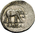 Ancients:Roman, Ancients: Julius Caesar. 49-48 B.C. AR denarius (18 mm, 3.67 g).Military mint traveling with Caesar. Elephant advancing right,trampl...