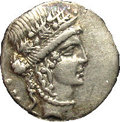 Ancients:Roman, Ancients: Julius Caesar. 48-47 B.C. AR denarius (16 mm). Rome. Headof Clementia right, wreathed with oak / Trophy of Gallic armswith...