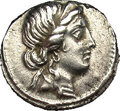 Ancients:Roman, Ancients: Julius Caesar. 47-46 B.C. AR denarius (17 mm). Militarymint traveling with Caesar in North Africa. Diademed head of Venusr...