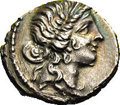 Ancients:Roman, Ancients: Julius Caesar. 47-46 B.C. AR denarius (18 mm, 3.75 g).Military mint traveling with Caesar in North Africa. Diademed headof...