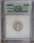 Ancients:Roman, Ancients: Domitian. A.D. 81-96. AR denarius (17 mm). Rome, A.D.88-89. Laureate head right / Minerva standing left, holdingthunderbol...