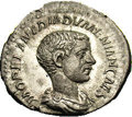 Ancients:Roman, Ancients: Diadumenian. Caesar, A.D. 217-218. AR denarius (20 mm,3.52 g). Rome. Bare-headed and draped bust right / Caesar standingfa...